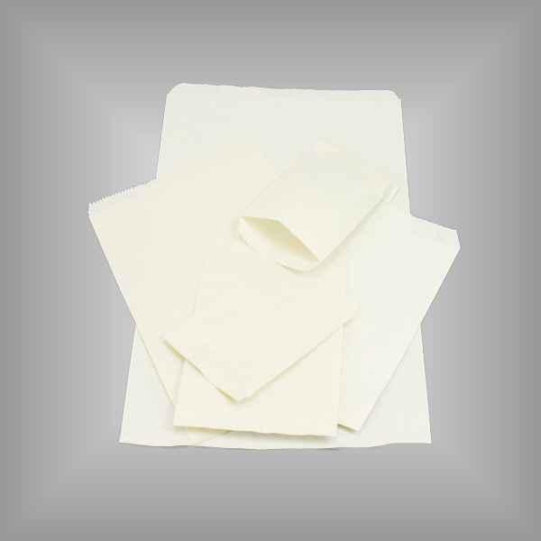 100 Papierflachbeutel weiß 12 x 18cm
