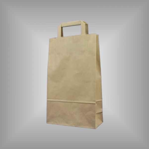 25 Papiertragetaschen braun 22 x 11 x 36cm flacher Griff