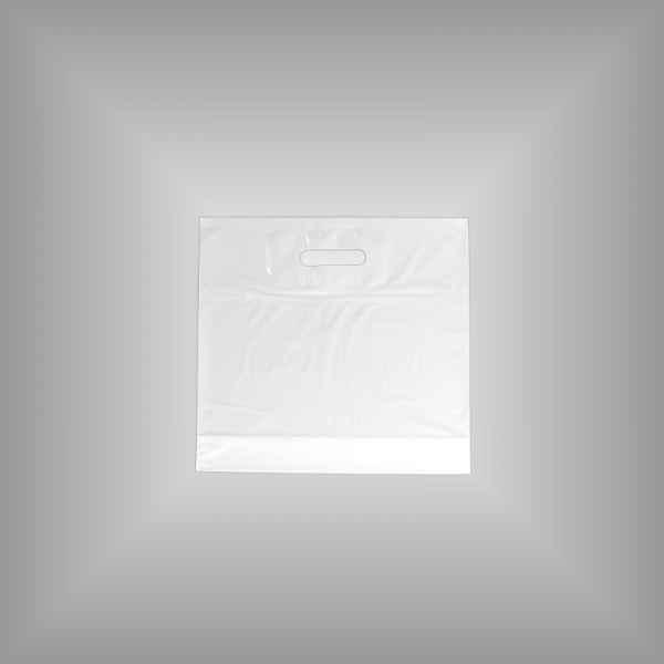 50 Plastiktüten weiß 35 x 35 + 5cm mit Griffloch