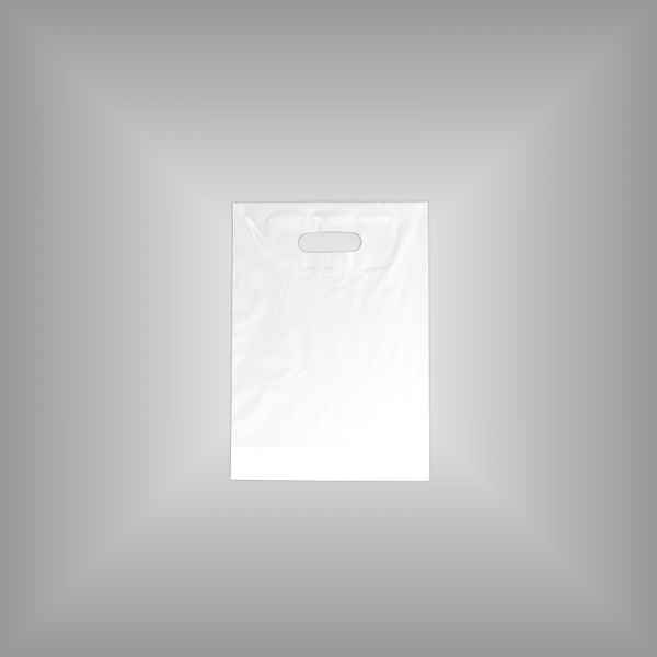 50 Plastiktüten weiß 25 x 35 + 4cm mit Griffloch