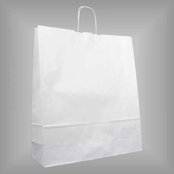 25 Papiertragetaschen weiß 44 x 14 x 50cm gedrehter Griff