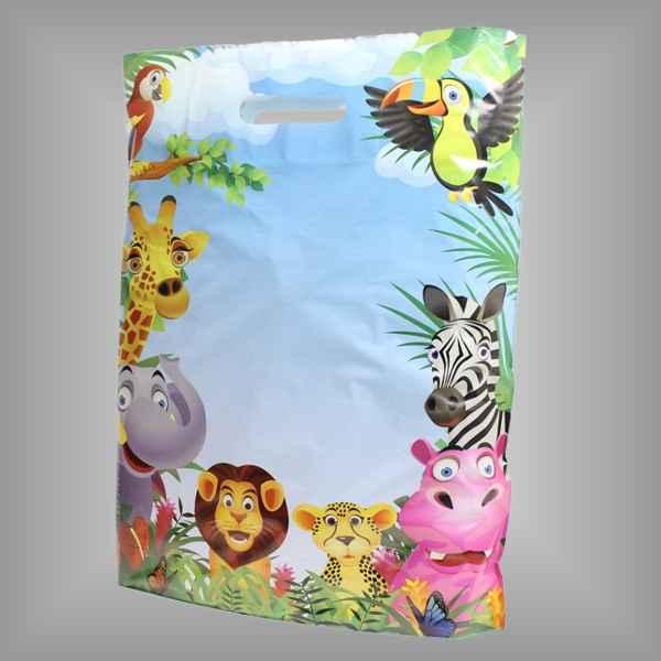 50 Plastiktüten Dschungel, 38 x 45 + 5cm mit Griffloch